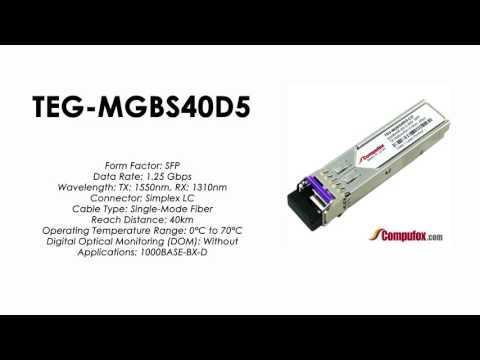 TEG-MGBS40D5  |  TRENDnet Compatible 1000Base-BX Tx1550nm/Rx1310nm 40km SFP