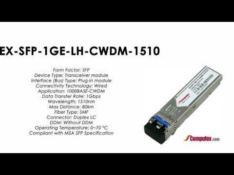 EX-SFP-1GE-LH-CWDM-1510    Juniper Compatible 1000Base-CWDM SFP 1510nm 80km SMF