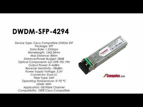 DWDM-SFP-4294  |  Cisco Compatible 1000BASE-DWDM SFP 1542.94nm 80km
