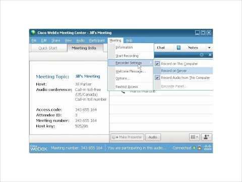 WebEx Training Center: Record To A Server