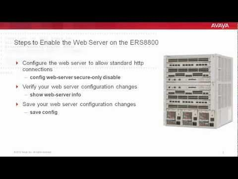 How To Enable The Web Server On The Avaya ERS8800