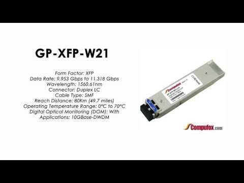 GP-XFP-W21  |  Force10 Compatible 10GBASE-DWDM XFP 1560.61nm 80km SMF