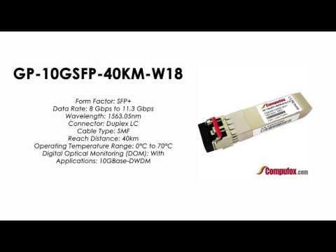 GP-10GSFP-40KM-W18     Force10 Compatible 10GBase-DWDM SFP+ 1563.05nm 40km SMF