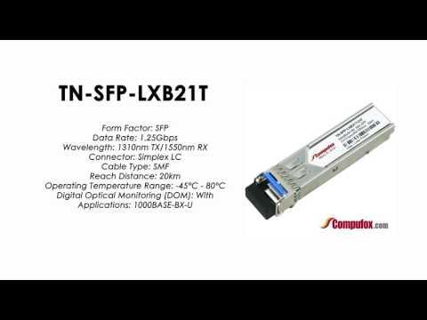 TN-SFP-LXB21T  |  Transition Compatible 1000BASE-BX SFP 1310nmTx/1550nmRx SMF 20km Industrial