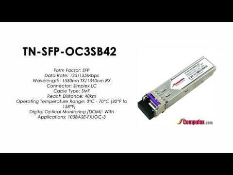 TN-SFP-OC3SB42  |  Transition Compatible 100BASE-FX/OC-3 BIDI SFP 1550nmTx/1310nmRx 40km