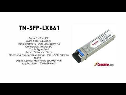 TN-SFP-LXB62 | Transition Compatible 1000BASE-BX SFP 1550nmTx/1310nmRx SMF 60km