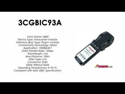 3CGBIC93A  |  3Com Compatible 1000BASE-T RJ45 100m GBIC
